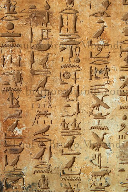 Egypte, Haute Egypte, croisiere sur le Nil entre Louxor et Assouan, site archeologique de El Kaab, tombe royale, hieroglyphe// Egypt, cruise on the Nile river between Luxor and Aswan, archeological site of  El Kaab, tomb