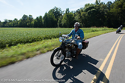 Frank Westfall riding his 1928 Henderson Deluxe during Stage 5 of the Motorcycle Cannonball Cross-Country Endurance Run, which on this day ran from Clarksville, TN to Cape Girardeau, MO., USA. Tuesday, September 9, 2014.  Photography ©2014 Michael Lichter.