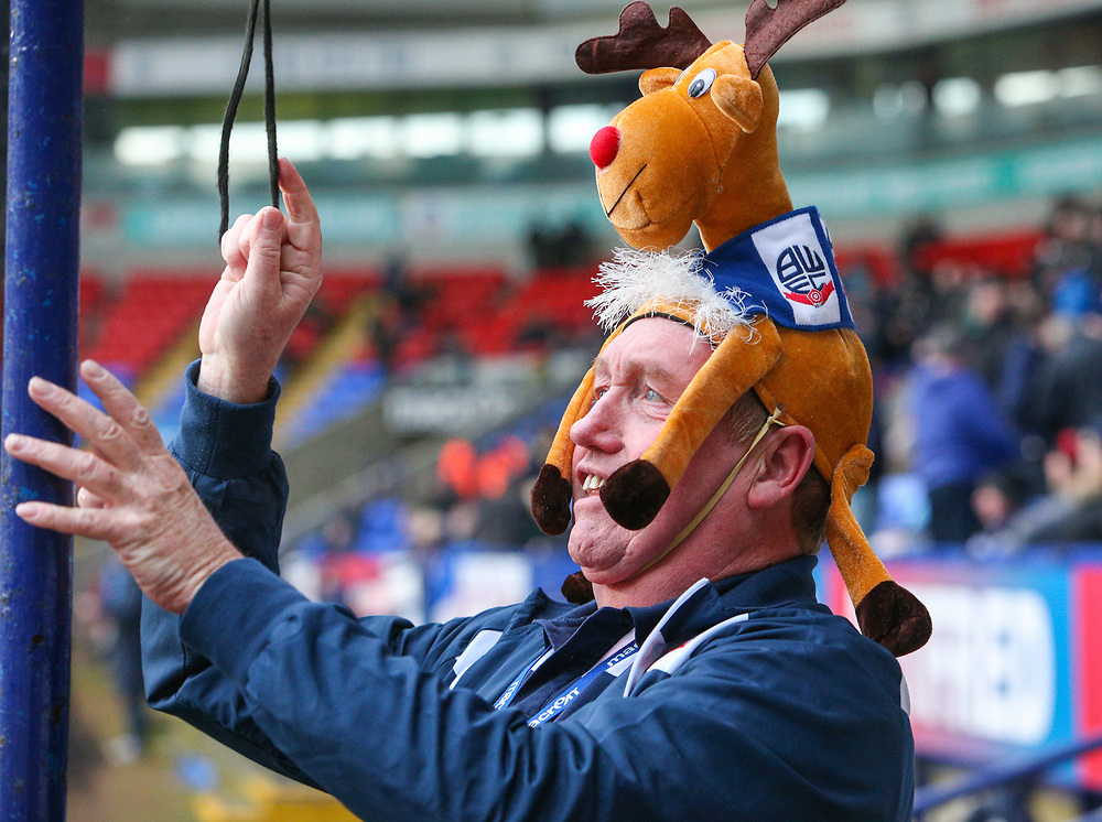 A Bolton Wanderers staff member gets into the festive spirit<br /> <br /> Photographer Alex Dodd/CameraSport<br /> <br /> The EFL Sky Bet Championship - Bolton Wanderers v Burton Albion - Saturday 16th December 2017 - Macron Stadium - Bolton<br /> <br /> World Copyright © 2017 CameraSport. All rights reserved. 43 Linden Ave. Countesthorpe. Leicester. England. LE8 5PG - Tel: +44 (0) 116 277 4147 - admin@camerasport.com - www.camerasport.com