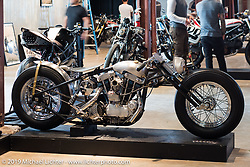 The Iron Panther by Bowman Motorcycles Frankie Bowman (St. Petersburg, FL) custom Harley-Davidson Ironhead on Friday before the grand opening that evening of the Handbuilt Motorcycle Show. Austin, TX. April 10, 2015.  Photography ©2015 Michael Lichter.