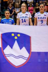 23-08-2017 NED: World Qualifications Greece - Slovenia, Rotterdam<br /> SloveniÎ wint met 3-0 / Veronika Mikl #16 of Slovenia, Lana Scuka #14 of Slovenia, Iza Mlakar #9 of Slovenia<br /> Photo by Ronald Hoogendoorn / Sportida