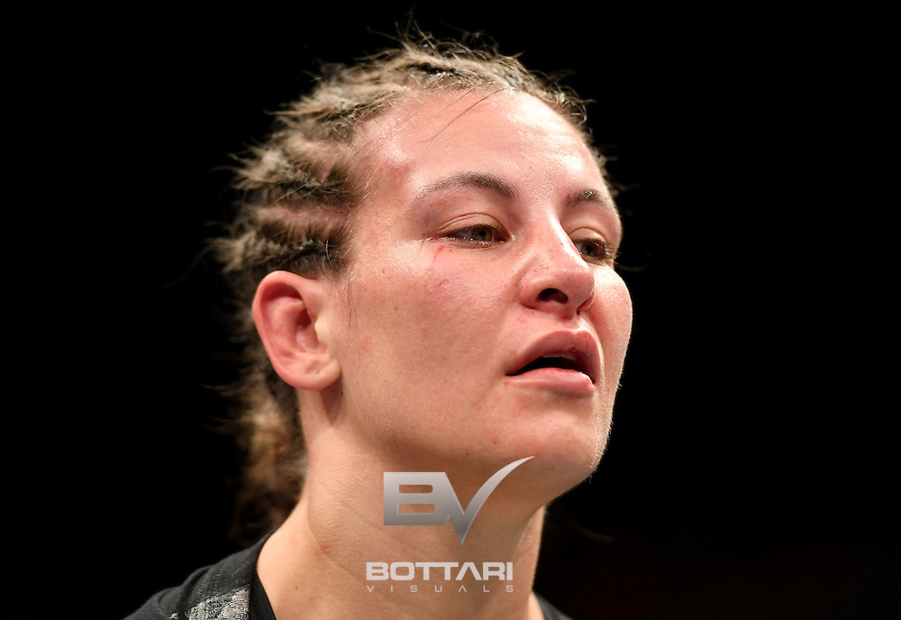 NEW YORK, NY - NOVEMBER 12: Miesha Tate of the United States looks on against Raquel Pennington of the United States (not pictured) in their women's bantamweight bout during the UFC 205 event at Madison Square Garden on November 12, 2016 in New York City.  (Photo by Jeff Bottari/Zuffa LLC/Zuffa LLC via Getty Images)