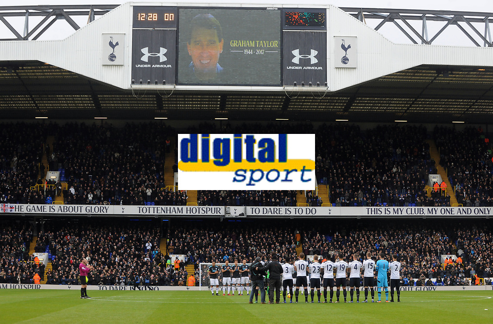 Football - 2016 / 2017 Premier League - Tottenham Hotspur vs. West Bromwich Albion<br /> <br /> The Tottenham and West Bromwich Albion teams line up for a minutes applause after the passing of Ex England and Watford Manager Graham Taylor at White Hart Lane.<br /> <br /> COLORSPORT/ANDREW COWIE