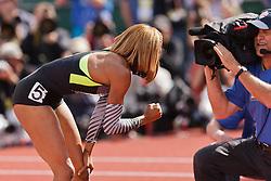 Sanya Richards-Ross, Women's 400 meters, champion, Olympian, pumps fist for NBC camera after winning
