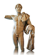 Roman statue in the nude hero style of Emperor Antoninus Pius, 138-161 AD. Titus Fulvius Aelius Hadrianus Antoninus Augustus Pius, also known as Antoninus, was Roman Emperor from 138 to 161. He was a member of the Nerva–Antonine dynasty and the Aurelii.[3]<br /> He acquired the name Pius after his accession to the throne, either because he compelled the Senate to deify his adoptive father Hadrian, or because he had saved senators sentenced to death by Hadrian in his later years. The National Roman Museum, Rome, Italy .<br /> <br /> If you prefer to buy from our ALAMY PHOTO LIBRARY  Collection visit : https://www.alamy.com/portfolio/paul-williams-funkystock/roman-museum-rome-sculpture.html<br /> <br /> Visit our ROMAN ART & HISTORIC SITES PHOTO COLLECTIONS for more photos to download or buy as wall art prints https://funkystock.photoshelter.com/gallery-collection/The-Romans-Art-Artefacts-Antiquities-Historic-Sites-Pictures-Images/C0000r2uLJJo9_s0