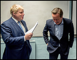 Image ©Licensed to i-Images Picture Agency. 04/05/2016. London, United Kingdom. Boris Johnson and the Prime Minister David Cameron wait in the greenroom before going on stage with Zac Goldsmith to start his 24 Hour Campaign. The Conservative Party Mayoral Candidate Zac Goldsmith on his 24 hour Mayoral election campaign around London. Zac Goldsmith  Picture by Andrew Parsons / i-Images