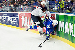 John Moore jr. of USA vs Jan Mursak of Slovenia during Ice Hockey match between Slovenia and USA at Day 10 in Group B of 2015 IIHF World Championship, on May 10, 2015 in CEZ Arena, Ostrava, Czech Republic. Photo by Vid Ponikvar / Sportida