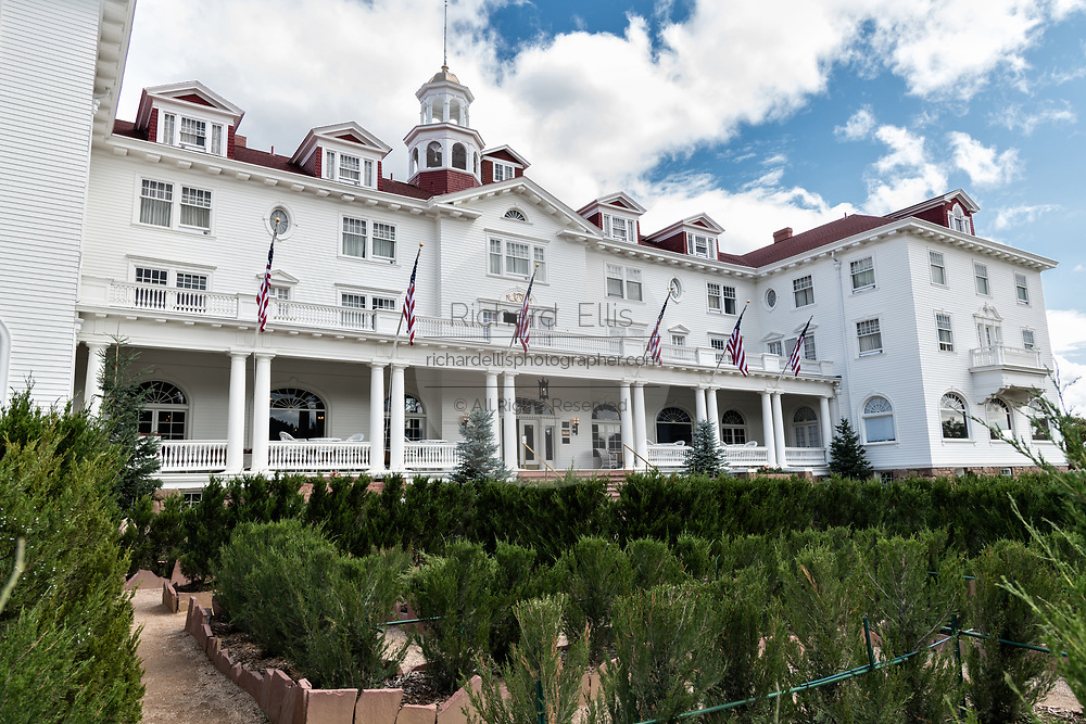The historic Stanley Hotel, a 142-room Colonial Revival hotel built in 1909, near the entrance to Rocky Mountain National Park in Estes Park, Colorado. The hotel served as the inspiration for the Overlook Hotel in the Stephen King bestselling novel The Shining.