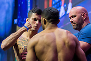 LAS VEGAS, NV - JULY 6:  Felipe Arantes faces off with Jerrod Sanders during the UFC Fight Night weigh-ins at T-Mobile Arena on July 6, 2016 in Las Vegas, Nevada. (Photo by Cooper Neill/Zuffa LLC/Zuffa LLC via Getty Images) *** Local Caption *** Felipe Arantes