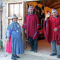 South America, Bolivia, Huatajata. The Limachi family at Inca Utama.