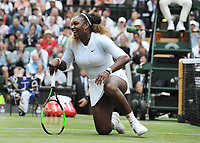 Tennis - 2019 Wimbledon Championships - Week One, Saturday (Day Six)<br /> <br /> Mixed Doubles, 1st Round <br /> Andy Murray (GBR) and Serena Williams (USA) v Andreas Mies (GER) v Alexa Guarachi (CHI)<br /> <br /> Serena Williams laughs after falling at the net  on Centre Court <br /> <br /> COLORSPORT/ANDREW COWIE