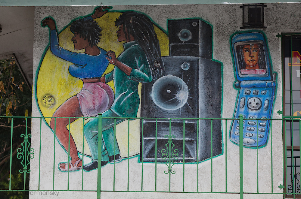Mural on the wall of an electronics shot in Nassua.