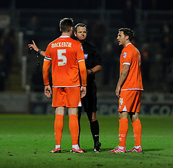 Blackpool's Gary MacKenzie argues with the referee after being sent off - Photo mandatory by-line: Dougie Allward/JMP - Tel: Mobile: 07966 386802 03/12/2013 - SPORT - Football - Yeovil - Huish Park - Yeovil Town v Blackpool - Sky Bet Championship