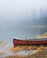 Canoe on alpine lake near Mt Rainier National Park.