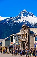 The main street, Broadway, in the Klondike Gold Rush National Historical Park, Skagway, Inside Passage, southeast Alaska USA.