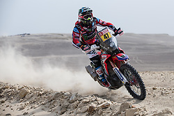 January 8, 2018 - Pisco, Peru - KEVIN BENAVIDES of Argentina competes during the 2018 Dakar Rally Race Stage 2 in Pisco, Peru. Benavides took the fifth place of motor race of the stage 2 with 3:02:27. (Credit Image: © Li Ming/Xinhua via ZUMA Wire)