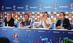 BORDEAUX, FRANCE - Friday, June 10, 2016: Slovakia's head coach Jan Kozak and Marek Hamsik during a press conference at the Stade de Bordeaux ahead of their opening game of the UEFA Euro 2016 Championship against Wales. (Pic by UEFA Handout/Propaganda)