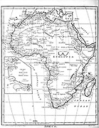19th century map of Africa Copperplate engraving From the Encyclopaedia Londinensis or, Universal dictionary of arts, sciences, and literature; Volume I;  Edited by Wilkes, John. Published in London in 1810