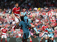 Rudy Gestede of Middlesbrough in action with Michael Keane of Burnley during the Premier League match at the Riverside Stadium, Middlesbrough. Picture date: April 8th, 2017. Pic credit should read: Jamie Tyerman/Sportimage