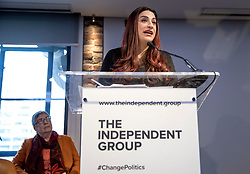 © Licensed to London News Pictures. 18/02/2019. London, UK. Former Labour MP Luciana Berger speaks at an event in Westminster, London, where a group of seven former Labour MPs announced the formation a new political party, The Independent Group. Formed by breakaway Labour MPs who disagree with Labour Party action on Brexit and Antisemitism. Photo credit: Rob Pinney/LNP