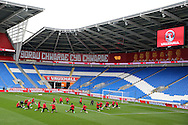 a general view of Wales football team training at the Cardiff city Stadium in Cardiff , South Wales on Saturday 8th October 2016, the team are preparing for their FIFA World Cup qualifier home to Georgia tomorrow. pic by Andrew Orchard, Andrew Orchard sports photography