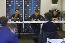 March 30, 2018 - Kortrijk, BELGIUM - Polish Michal Kwiatkowski of Team Sky, Dutch Dylan van Baarle of Team Sky and Team Sky sports director Servais Knaven pictured during a press conference, Friday 30 March 2018, ahead of Sunday's 'Ronde van Vlaanderen 2018 - Tour des Flandres - Tour of Flanders' one day cycling race. BELGA PHOTO NICOLAS MAETERLINCK (Credit Image: © Nicolas Maeterlinck/Belga via ZUMA Press)