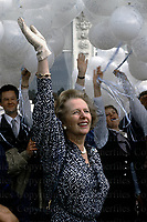 British Prime Minister Margaret Thatcher seen at the opening ceremony of the Grand Hotel, Brighton in August 1984. The hotel was the destroyed in the 1984 IRA terrorist bombing in which Mrs Thatcher and her Conservative cabinet were the targets. Photographed by Terry Fincher