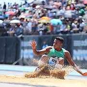 Ernesto Reve, Cuba, in action in the Men's Triple Jump Competition during the Diamond League Adidas Grand Prix at Icahn Stadium, Randall's Island, Manhattan, New York, USA. 13th June 2015. Photo Tim Clayton