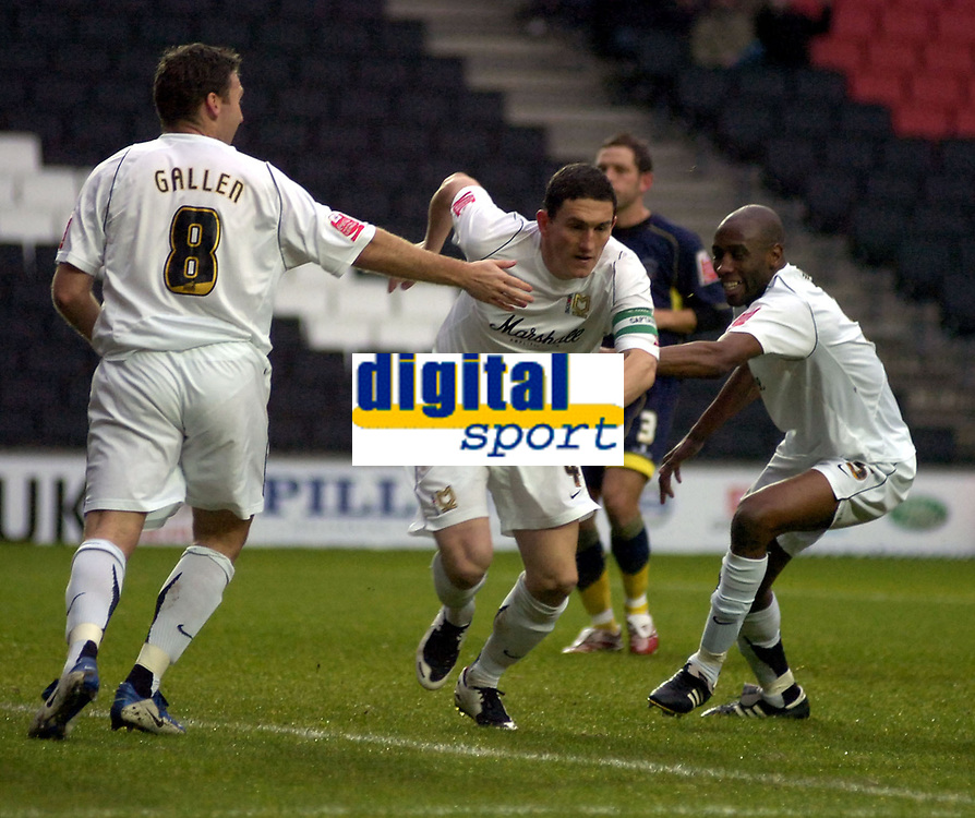 Photo: Matt Bright/Sportsbeat Images.<br />Milton Keynes Dons v Accrington Stanley. Coca Cola League 2. 08/12/2007.<br />Keith Andrews scores the opener for MK Dons
