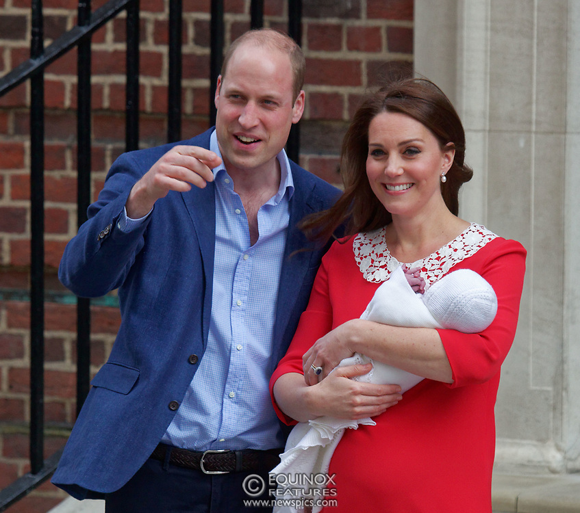 London, United Kingdom - 23 April 2018<br /> Prince William and Kate Middleton, The Duke and Duchess of Cambridge show off their new baby as they leave the Lindo Wing of St. Mary's Hospital, Paddington, London, England, UK, Europe.<br /> www.newspics.com/#!/contact<br /> (photo by: EQUINOXFEATURES.COM)<br /> Picture Data:<br /> Photographer: Equinox Features<br /> Copyright: ©2018 Equinox Licensing Ltd. +448700 780000<br /> Contact: Equinox Features<br /> Date Taken: 20180423<br /> Time Taken: 17524883