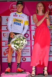 July 28, 2018 - Les Bons Villers, BELGIUM - Belgian Quinten Hermans pictured on the podium wearing the white jersey for best young rider after the first stage of the Tour De Wallonie cycling race, 193,4 km from La Louviere to Les Bons Villers, on Saturday 28 July 2018. BELGA PHOTO LUC CLAESSEN (Credit Image: © Luc Claessen/Belga via ZUMA Press)