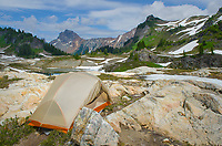 Backcountry campsite. Yellow Aster Butte Basin, Mount Baker Wilderness, North Cascades Washington