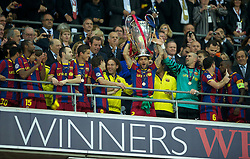 28.05.2011, Wembley Stadium, London, ENG, UEFA CHAMPIONSLEAGUE FINALE 2011, FC Barcelona (ESP) vs Manchester United (ENG), im Bild FC Barcelona's Daniel Alves lifts the European Cup trophy after completely outclassing Manchester United 3-1 during the UEFA Champions League Final at Wembley Stadium, EXPA Pictures © 2011, PhotoCredit: EXPA/ Propaganda/ Chris Brunskill *** ATTENTION *** UK OUT!