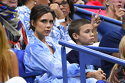 Victoria Beckham and son Romeo watch tennis on night two in Arthur Ashe Stadium at the 2017 US Open Tennis Championships at the USTA Billie Jean King National Tennis Center in New York City, NY, USA, on August 29, 2017. Photo by Corinne Dubreuil/ABACAPRESS.COM