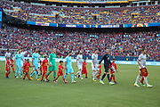 Barcelona Lionel Messi and Manchester United Midfielder Michael Carrick lead the teams out during the International Champions Cup match between Barcelona and Manchester United at FedEx Field, Landover, United States on 26 July 2017.