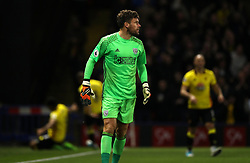 West Bromwich Albion goalkeeper Ben Foster reacts after conceding the opening goal during the Premier League match at the Vicarage Road, Watford.