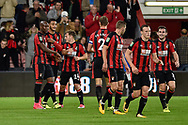 AFC Bournemouth players celebrate after AFC Bournemouth striker Joshua King (17) scores a goal 1-0 during the EFL Cup match between Bournemouth and Brighton and Hove Albion at the Vitality Stadium, Bournemouth, England on 19 September 2017. Photo by Adam Rivers.