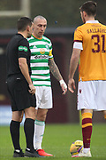 The coin toss during the Scottish Premiership match between Motherwell and Celtic at Fir Park, Motherwell, Scotland on 8 November 2020.