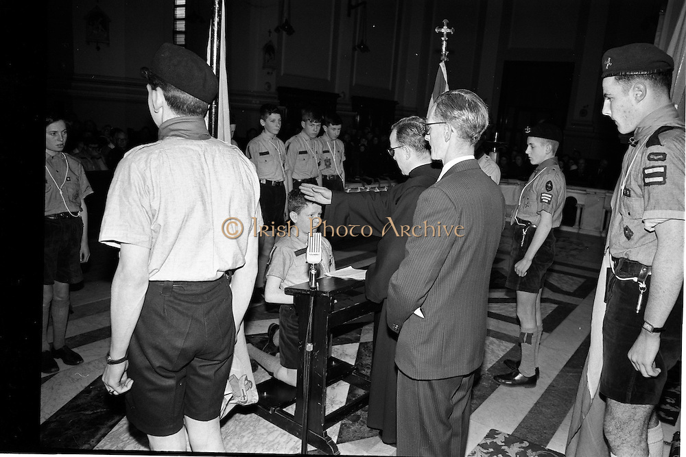 20/01/1963<br /> 01/20/1963<br /> 20 January 1963<br /> CBSI Investiture at Merchants Quay, Dublin. Investiture of 52 Scouts and 30 Macoimh, and presentation of 4 commissions to Scout Masters at the Franciscan Church.  Scout blessed at investiture.