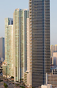 highrise office and apartment buildings in downtown miami at sunrise. <br /> <br /> Editions:- Open Edition Print / Stock Image