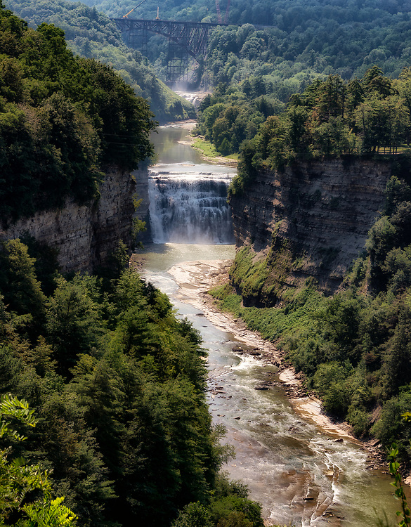 On its way to Lake Ontario, the Genesee River tumbles over a series of cascades, two of which are visible here.