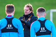 Heart of Midlothian manager Robbie Neilson speaks with his players during the Heart of Midlothian press conference and training session at Oriam Sports Performance Centre, Edinburgh, Scotland on 23 November 2020.