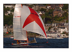 Racing at the Bell Lawrie Yachting Series in Tarbert Loch Fyne ..The start of the Bell Lawrie Yachting Series from Gourock overnight to Tarbert Loch Fyne...Joyride GBR9828 passes the start at the Royal Gourck Yacht Club.