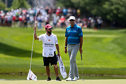 June 22, 2018 - Cromwell, Connecticut, United States - Stewart Cink (R) and his caddie line up a putt on the 8th green during the second round of the Travelers Championship at TPC River Highlands. (Credit Image: © Debby Wong via ZUMA Wire)