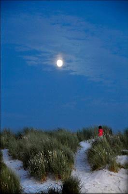 Nederland, Ameland, 5-9-2010Het licht van de maan schijn in de avond over de duinen. Een kind loopt door het helmgras.Foto: Flip Franssen/Hollandse Hoogte