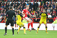 Nottingham Forest forward Jason Cummings (35) clears during the EFL Sky Bet Championship match between Nottingham Forest and Burton Albion at the City Ground, Nottingham, England on 21 October 2017. Photo by John Potts.