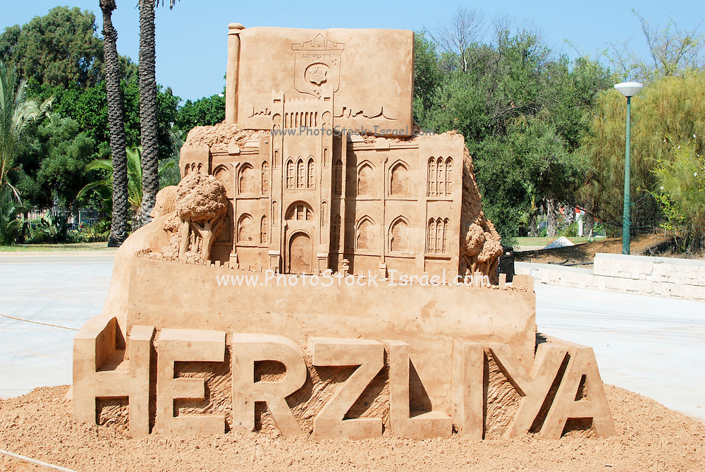 Israel, Tel Aviv, As part of the centennial celebrations, sand sculptures of famous buildings and landmarks were created. Herzliya Hebrew High School (HaGymnasia HaIvrit) Built in 1909 and demolished in 1962 to make place for the Shalom Towers