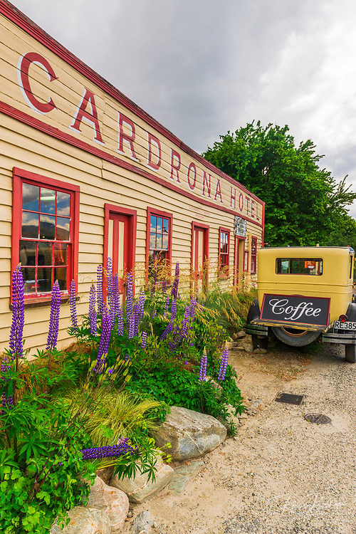 The Cardrona Hotel and antique car, Cardrona, Central Otago, South Island, New Zealand