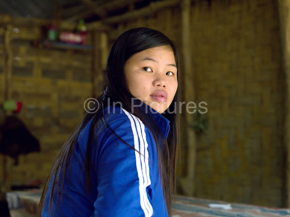 The daughter of a Vietnamese construction worker living in Ban Pakpok the closest village to the Nam Ou Cascade Hydropower Project Dam 5 in Phongsaly province