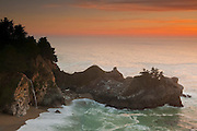 McWay Falls, located in the Big Sur region of the California coast, empties directly into the Pacific Ocean at sunset. Such waterfalls are known as tidefalls.